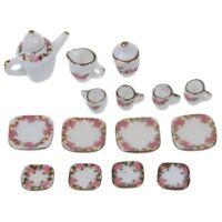 15pcs Ustensiles de The Miniatures en Porcelaine pour Maison de Poupees N5X6