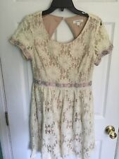 Short Sleeve Lace Dress Beige Soieblu Large EXCELLENT! SAME DAY SHIPPING!