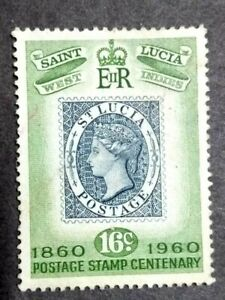 1960 St. Lucia Queen Elizabeth II 100th Anniversary Postage Stamp 16c - 1v Used