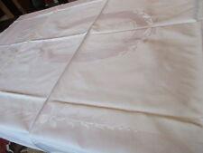 schöne alte Halbleinen Damast Tischdecke Tafeltuch pastellgelb weiss