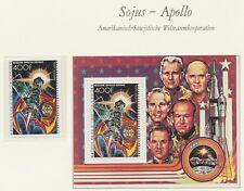 COMOROS 1977, APOLLO-SOYUZ superb U/M stamp + scarce MS