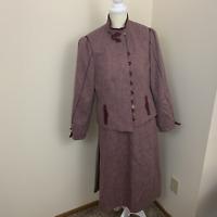 womens Londenfrey vtg skirt jacket set wool maroon