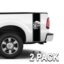 Truck Bed Stripes Skull and Roses Tattoo Inspired Graphics Set of 2 Bands
