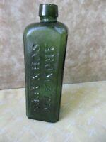 "Antique Bottle,Green AROMATIC SCHNAPPS,SCHIEDAM,Hendrik WALTER,6 3/4""Tall"