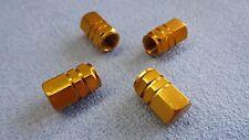 PEUGEOT 107 208 306 GOLD METAL DUST VALVE CAP TYRE WHEEL ALUMINIUM HEXAGON COVER
