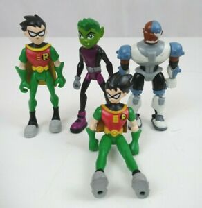 """Lot of 4 Teen Titans Go 4""""  Action Figures 2 Different Robin, Cyborg,& Beast Boy"""