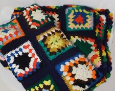 """Handcrafted afghan Granny squares black various colors 45"""" x 52"""""""