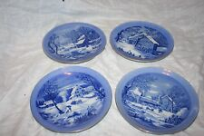 CURRIER AND IVES WINTER SCENES DECORATIVE PLATE SET OF FOUR