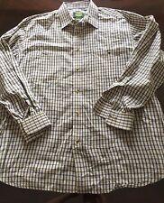 Cabela's Men's Long Sleeve L/S Button Front Shirt Check Plaid XL Reg White Tan B