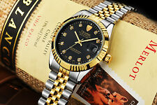 Luxury Tevise Gold Stainless Steel Automatic Mechanical Men Date Luminous Watch