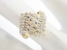 14k Yellow Gold .50 Carat TCW Marquise Diamond Accent Cluster Ring Sz 5 #2715