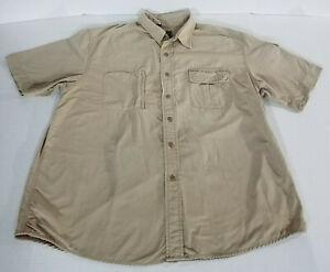 Eddie Bauer SS Vented Nylon Hiking Guide Fishing Shirt 4 Pockets Mens XL Khaki
