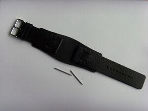 FOSSIL Original Ersatz Lederarmband JR8340 Uhrband schwarz mit Unterlage 28 mm