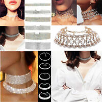 Women's Rhinestone Crystal Diamond Choker Collar Bridal Wedding Necklace Jewelry