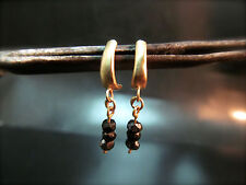 14k Yellow gold earrings with Black Spinel.Handmade unique dangle earrings