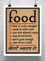 Food Don't Waste It Vintage Kitchen Decor Poster Cotton Canvas Giclee 24x30 in.