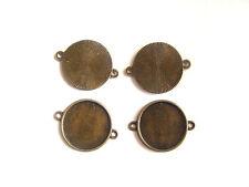 10 Antiguo Bronce tono Ronda Camafeo de cabujón de configuración de 20mm Bandeja Conector Blanks