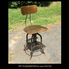 Vintage Uhl Toledo Steel Industrial Drafting Machinist Chair Stool Machine Age