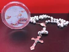 1 Rosary WHITE Scented Rosario BLANCO Wood Rosary