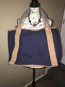 Merona Navy Blue Tan Faux Leather Canvas Large Beach Bag Tote Travel NWT