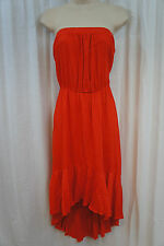 Swim Cover Coco Bianco Sz M Coral Orange Strapless Beach Wear Cover Up High Low