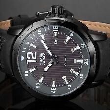 SHARK ARMY Fashion Black Steel Case Calender Quartz Mens Leather Sport Watch
