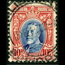 SOUTHERN RHODESIA 1931-37 10d Blue & Scarlet. P 11.5. SG 22a. Fine Used. (W0680)