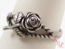 Sterling Silver Vintage 925 Carved Rose Ring Sz 6.75 (2.5g) - 745077