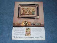 1989 Franklin Mint Tutankhamun Papyrus Art Vintage Ad