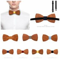 3D Men Fashion Handmade Wooden Bow Tie Gifts Wedding Wood Tuxed Bowtie Necktie
