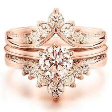 Elegant Women 18K Rose Gold Plated Morganite Wedding Proposal Ring Set Size 6-10