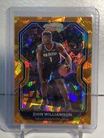 2020-21 Prizm Basketball Zion Williamson Orange Cracked Ice SP! N.O. Pelicans🏀