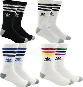 1 Pair Mens Adidas Originals Roller Crew Socks Black White Blue Large 8 - 12