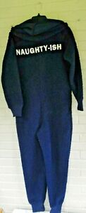 Adult Aerie Navy Sherpa NAUGHTY-ISH Xmas Hooded One Piece Jumpsuit Pajamas SMALL