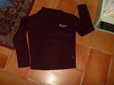 "PULL fille "" IN EXTENSO "", T14A,acrylique marron, grand col,décor Fantastic Girl"