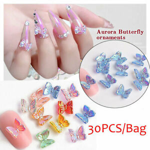 30Pcs 3D Resin Butterfly Bow Glitter AB Nail Art Decors Charm Manicure Nails Art