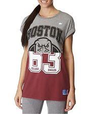 NEW American Freshman Boston Spliced T-Shirt Grey Womens Girls Size XS RRP £16