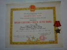 """Vietnam War Vc """"Soldier Of Glory Order"""" Certificate With 3rd Class Medal Award"""