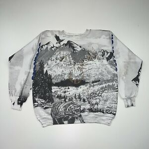 Vintage 90s Colorado Crewneck Sweatshirt Size Large White All Over Print