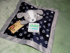 CARTERS BABY SECURITY BLANKET PUPPY DOG NAVY GRAY STARS CHILD OF MINE LOVEY 13""