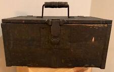 Antique Primitive Rustic Wooden & Metal Tool Document Chest Box W/Turning Lock