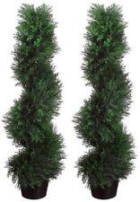 2 TOPIARY 3' ARTIFICIAL OUTDOOR TREE UV CYPRESS SPIRAL CEDAR PINE DECOR PATIO