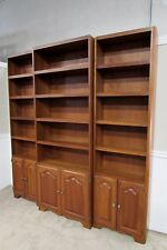 CHERRY 3 PIECE WALL UNIT, LIBRARY CABINET, BOOKCASE SHELVES MEDIA, QUALITY BUILT
