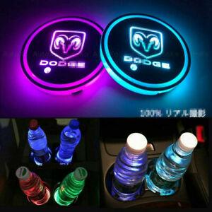 For DODGE 2PCS LED Car Logo Cup Holder Pad 7 Colors Changing Atmosphere Lights