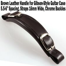 Brown Leather Chrome Buckle Handle for Gibson Style Guitar Cases Curved NEW