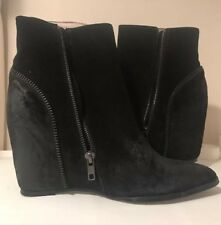 Sol Sana Black Suede Hidden Wedge Cowboy Ankle Boots Booties Size 41 US 10 Zip