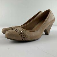 Clarks Artisan Women US 7.5 M Brown Leather Heel Cutout Shoe 63986
