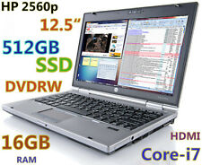 "New listing Small Hp 2560p 12.5"" i7-2.7Ghz (512Gb Ssd Dvdrw 16Gb) Webcam Hdmi Bluetooth Fp"
