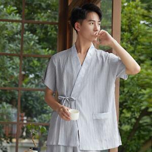 New Chinese Japanese Mens Light Grey Shorts Kimono Pyjamas Pajamas menpjs51