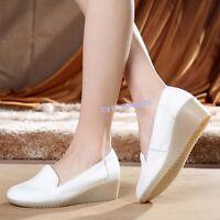 New Women's Leather Wedge Hospatal Nurse Work Shoes Loafer Slip On Nursing Shoes